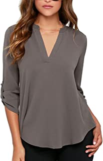 Women's Summer V Neck Solid Loose Casual Cuffed Long Sleeve Blouses