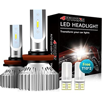 4WDKING H11 LED Headlight Bulbs - Fanless Super Bright Low Beam Fog Light 60W 8000LM 6500K Cool White High Beam H8/H9 Conversion Kit with T10 x2