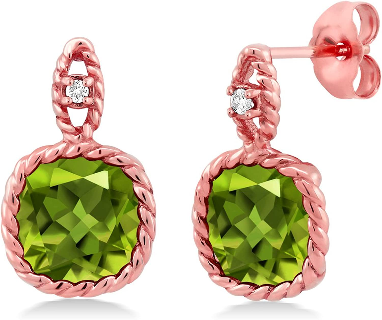 10K pink gold 4.90 Ct 8mm Cushion Green Peridot and Diamond Cable Earrings