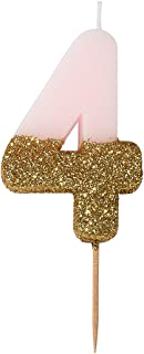 Talking Tables We Heart Birthday Glitter Number 4 Candle, Pink