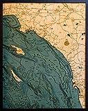 Los Angeles to San Diego, California 3-D Nautical Wood Chart, 24.5' x 31'