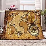 WJYMJJ Manta de Franela Mapa de la Vendimia Suave y Acogedor Ligera Manta Polar Microfibra, Manta de la decoración de la Sala de Estar del sofá 70x100 cm