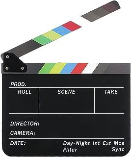 Semoic Dry Erase Director's Film Movie Clapboard Cut Action Scene Clapper Board Slate with Colorful Sticks