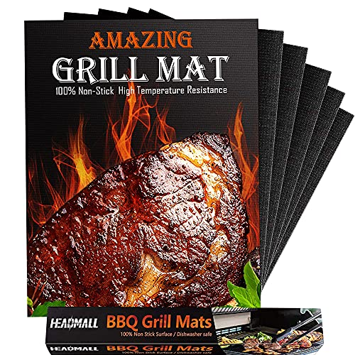 HEADMALL Grill Mat 6 Pcs, 100% Non-Stick BBQ Mats, Easy to Clean, for Barbecue Grilling & Baking, Electric Grill Gas Charcoal BBQ – 15.75 x 13 inch