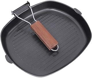 Antiadherente Sartén mango de madera plegable de cocina Cocinar el filete Pot portátil Square Grill (Color : Black)