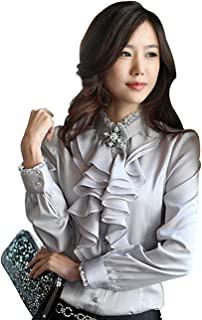 Camisa de Manga Larga para Mujer Blusa con Volante Ropa para Oficina Otoño Elegante de Moda