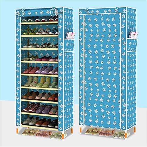 HLL Zapatero simple de madera Zapatero de madera maciza a prueba de polvo Almacenamiento de gran capacidad Zapatero de tela Oford Puede poner botas Refuerzo grande,azul tobillo