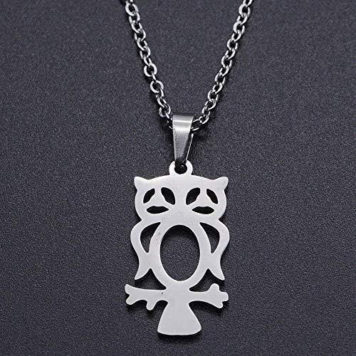 huangshuhua Collar Mujer Collar de Encanto de búho de Acero Inoxidable para Mujer Acepta Collares de joyería Collares de Acero Delicado