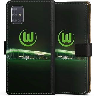 DeinDesign Klapphülle kompatibel mit Samsung Galaxy A51 Handyhülle aus Leder schwarz Flip Case Offizielles Lizenzprodukt VFL Wolfsburg Stadion