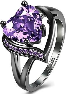 BEMI Romantic 18K Black Gold Plated Promise Band Ring Wedding Purple Heart Cubic Zirconia Rings for Women