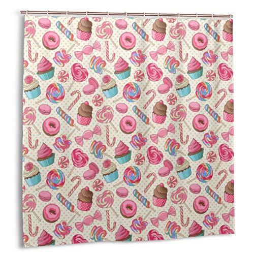 LiBei Duschvorhang,Candy Cane Yummy Sweet Lollipop Candy Macaroon Cupcake & Donut auf Tupfenmuster Stoff Bad Dekor Dekor mit Haken 150cmx180cm
