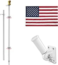 Jetlifee 3x5 Ft American Flag Pole Kit – Including US Flag with Embroidered Stars Sewn Stripes, 6 Ft No Tangle Flagpole Al...