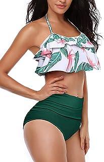aed0e49fb09 Women High Waisted Swimsuit Flounce Swimwear Racerback Vintage Two Piece  Bikini