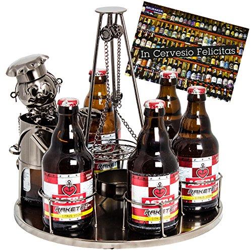 Brubaker Flaschenhalter Grillmeister mit Schwenkgrill Metall Skulptur mit Geschenkkarte
