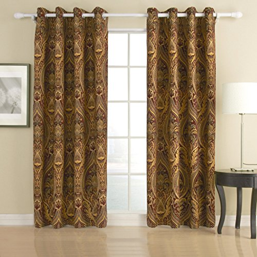 """IYUEGO Cotton Chenille/Rayon Energy Saving Grommet Top Curtain with Multi Size Custom 50"""" W x 96"""" L (One Panel)"""