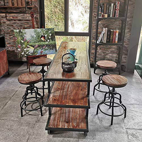 Topower American Antique Industrial Design Metal Adjustable Height Bar Stool Chair Kitchen Dining Breakfast Chair Natural Pinewood Industrial Style (Black 2pcs)