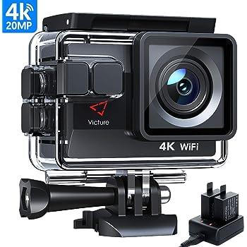 Victure Actioncam 4K WiFi 170° grandangolo Fotocamera Subacquea 40 m Fotocamera Subacquea 20MP Ultra Full HD Sport Action Camera con Caricatore 2 batterie e Accessori Inclusi