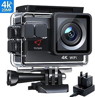 Victure AC800 Cámara Deportiva Wi-Fi 4K Ultra HD 20MP (Action Camera Acuatica de 40M con 2 Baterías y Cargador Externo Funciones Anti-Shaking y Time Lapse)