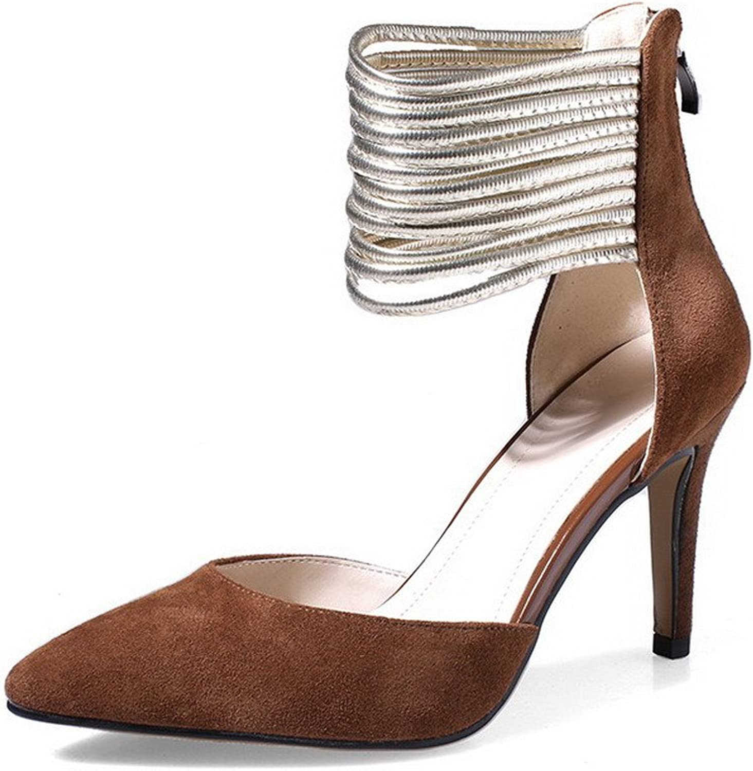 AmoonyFashion Women's Pointed Closed Toe Spikes Stilettos Frosted Solid Zipper Pumps shoes