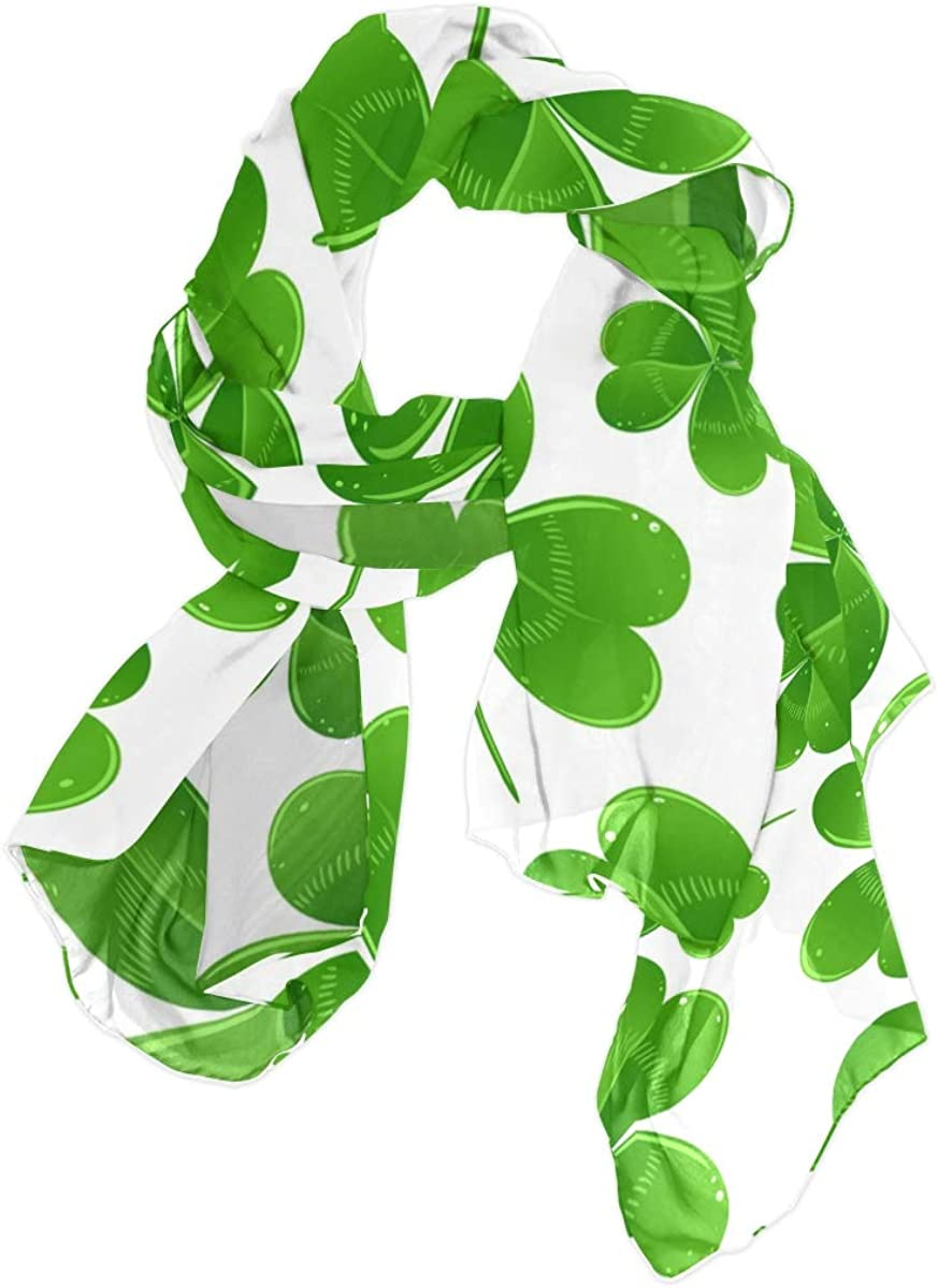 AUUXVA Fashion Scarf Saint Patrick's Day Clover Leaves Long Lightweight Sunscreen Scarf Shawl Wrap Muffler Neckerchief for Women Men