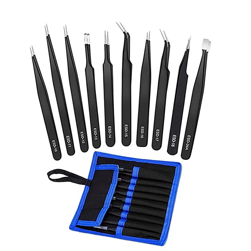 Tweezers Precision Set,Easily Life 10pcs ESD Tweezers Set, Anti Static Stainless Steel Anti Magnetic Tweezers Set with Storage Bag for Craft,Electronics Repair,jewelry repair,Laboratory Work,etc.