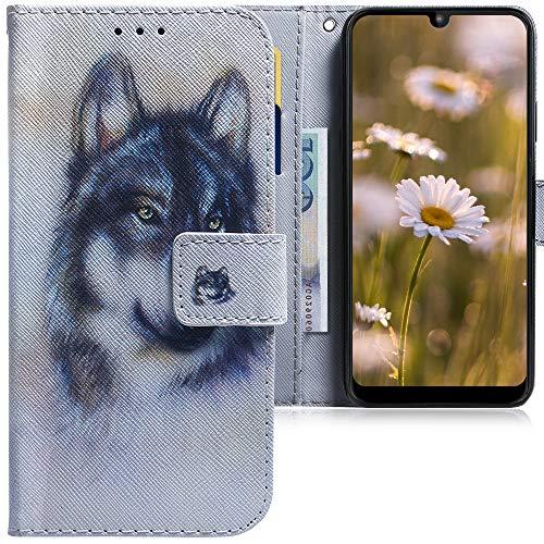 CLM-Tech Hülle kompatibel mit Motorola Moto E6 Plus - Tasche aus Kunstleder - Klapphülle mit Ständer & Kartenfächern, Wolf weiß grau