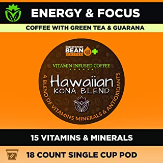 Vitamin Infused Coffee, Energy & Focus | Keto | Paleo | Hawaiian Kona Blend, Packed With 15 Powerful Vitamins, Single Cup Pods ( 18 Count ) Caompatable With Keurig K Cup Brewers.