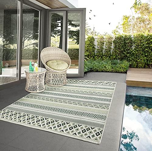 the carpet Machka In- & Outdoor Teppich Flachgewebe, Modernes Design, Superflach, UV- und Witterungsbeständig, Terrasse, Grün, 120 x 170 cm