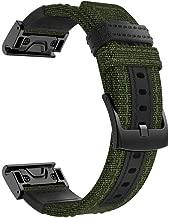LEKODE Watch Band WristStrap for Garmin Fenix 5/5 Plus/Forerunner 935 Woven Nylon Sweatproof(Army Green B,As described)