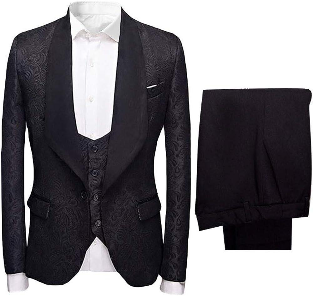 HOTK Men's Suits White Pink Blue Jacquard Tucson Mall Sha Max 43% OFF Fit Red Slim Black