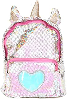 Starte PU Bling Toddler Unicorn Backpack for Girls Trave School Mini Backpack for Women Sequins Critter Backpack,Gold