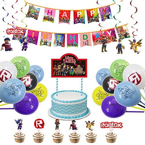 Roblox Party Dekoration 48pcs Game Geburtstag Dekoration Happy Birthday Banner Latex Ballon Hinweis Cake Topper für Roblox Thema Party Feier Geburtstagsfeier,Junge Kinder Geburtstag Dekoration