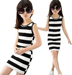 JDLXMD 子供ドレス ワンピース ドレス 女の子 黒と白ストライプ 可愛い Tシャツショートスカート夏 袖なし ベビー 素敵 プリンセスドレスワンピース ストライプ スリングベスト