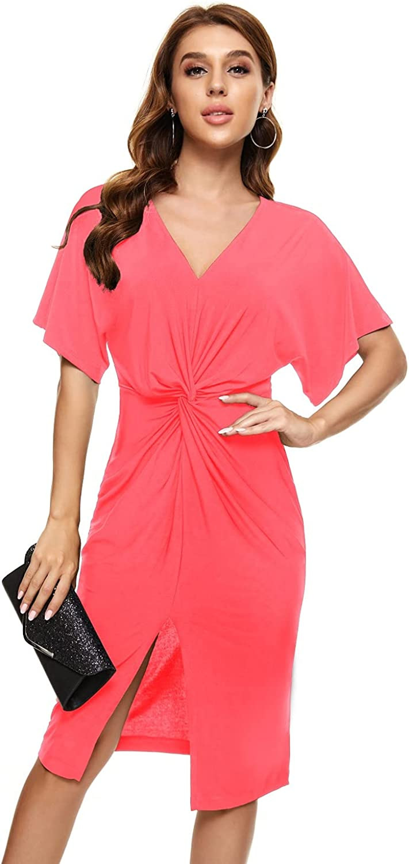 Women's Summer Twist Knot Short Sleeve V Neck Front Split Dress Knee Length Bodycon Skirt
