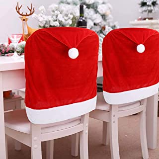 CCINEE 6PCS Christmas Chair Covers,Santa Claus Hat Slipcover Xmas Chair Back Cover for Christmas Dinning Room Decoration