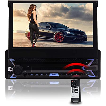 EinCar Android Radio 7 inch Single Din Car Stereo Bluetooth 1Din Capacitive Touchscreen Car DVD CD Player GPS Navigation with Detachable Panel AM/FM RDS Receiver Support USB SD Rear Camera Input