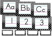 先生作成されたリソースTraditional原稿アルファベット掲示板、ブラック/ホワイトChevronsとドット( 5573)