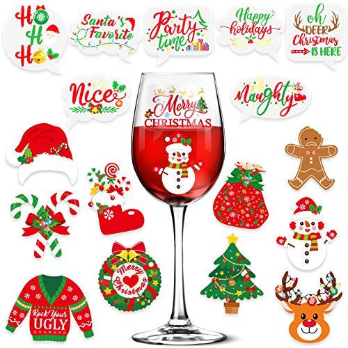 Qpout 36 Weihnachten Glassmarker Drink Marker Glasmarker Haftaufkleber , Weinglas Mark,Wiederverwendbare Glasmarkierer,Wein Glas Trinken Marker ,Weinglasmarkierer Glasmarkierung Etiketten Tag