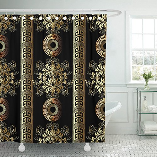 TOMPOP Shower Curtain Damask Floral Vintage Antique Gold 3D Flowers Leaves Greek Waterproof Polyester Fabric 72 x 72 Inches Set with Hooks