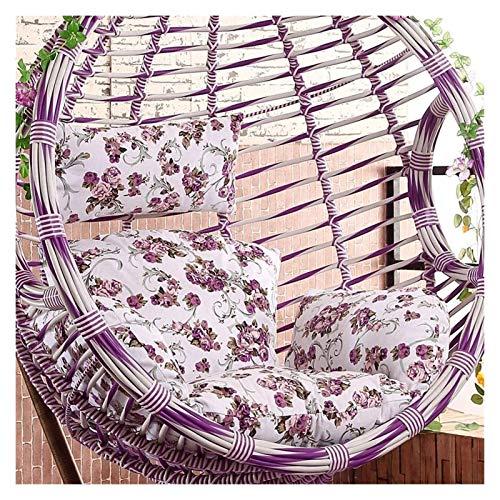XiYou Cesta Colgante Cojines para sillas de Huevos Silla de Columpio de ratán Colgante de jardín Patio Interior Al Aire Libre Cojín y Funda para Silla de Huevo