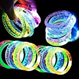 24 Pack Glow In The Dark LED Bracelets Party Favors Halloween Flashing Light Up Bracelet Glow Sticks Party Toys Neon Party Supplies Light Up Rave Concert Birthday Carnival Party Favors Holiday Gift