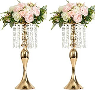 LANLONG 2PCS Acrylic Imitation Crystal Candle Holder Stand Gold/Silver Flower Vase Wedding Centerpiece Lead Road Candlestick for Wedding Event Decoration (Gold, 21.25