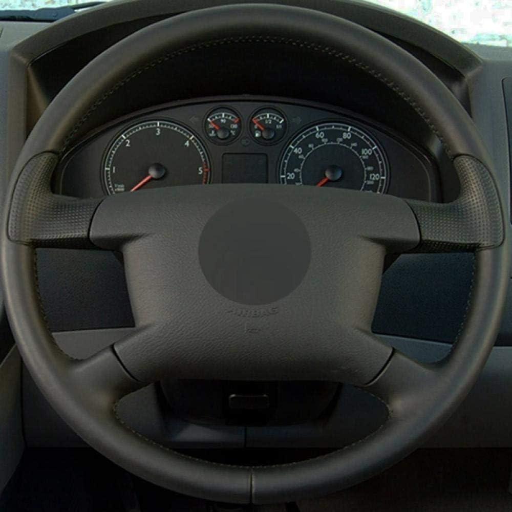 BTOEFE Cubierta del Volante del Coche de Cuero Genuino Negro Suave para Volkswagen VW Caddy 2003-2006 Caravelle 2003-2009 Transporter T5 2006