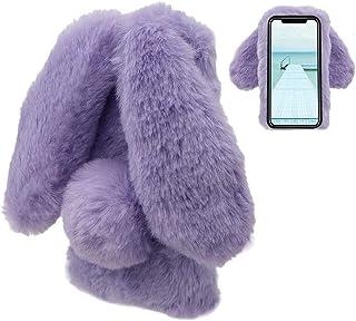 LCHDA iPhone XR Rabbit Case 6.1 inch 2018,iPhone XR Rabbit Fur Case Bunny Ear Phone Case for Girls Fuzzy Cute Warm Winter ...