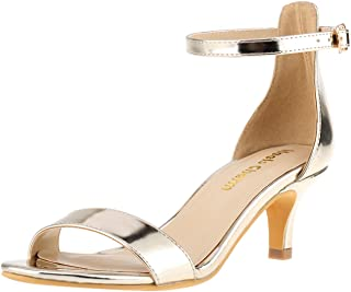 Women's Stiletto Open Toe Low Heel Sandal Ankle Strap High Heels 5CM Sandals Working Bridal Party Shoes
