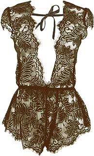 Wiwsi Charming Women Babydoll Sexy Lingerie Lace Sleepwear Jumpsuit Nightwears