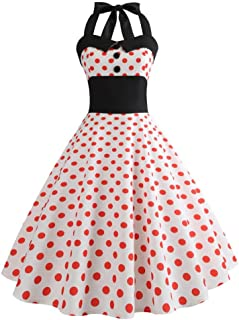 Pingtr 1950s Vintage Rockabilly Dresses for Women, 20s-60s Polka Dots Print Evening Party Retro Cocktail Dresses Sleeveles...