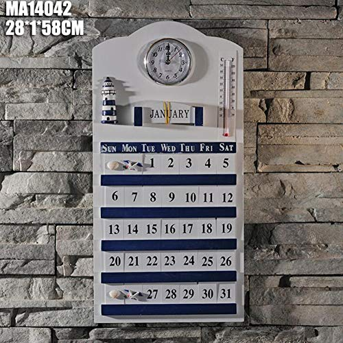 Dongbin Large Permanent Calendar, Wood 4 Seasons, Handmade Wooden Distressed Retro Navy Style White Solid Wood Perpetual Calendar Trailer Home Decor,B