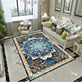 Alfombras Alfombra Cuarto Alfombra de diseño Floral Azul Amarillo Antideslizante fácil de Limpiar Alfombra Salon Pelo Corto Alfombra Salon Lavable 160X230CM