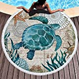 Microfiber Round Beach Blanket/Towel with Turtle Design